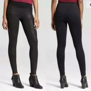Assets By Spanx Faux Leather Front Leggings Black